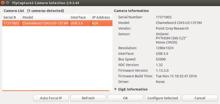 Ubuntu下Pointgrey CMS-U3-13Y3M-CS调试配置| Hanjie's Blog